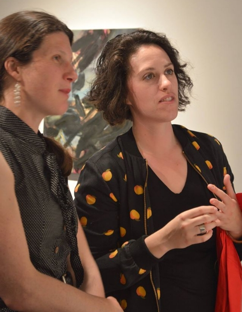 Another Note from Lauren: My friend Rachel and I  have a lot of fun looking at art together.  This is one of my favorite photos (credit: Ray DiCecco) of Rachel and me looking at art during a Tiffany Calvert show at Brick and Mortar Gallery last May.