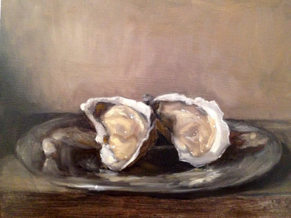 """Woman, Control Yourself!"" oil on board, 8x10""   (I put all my oyster paintings  here .)"