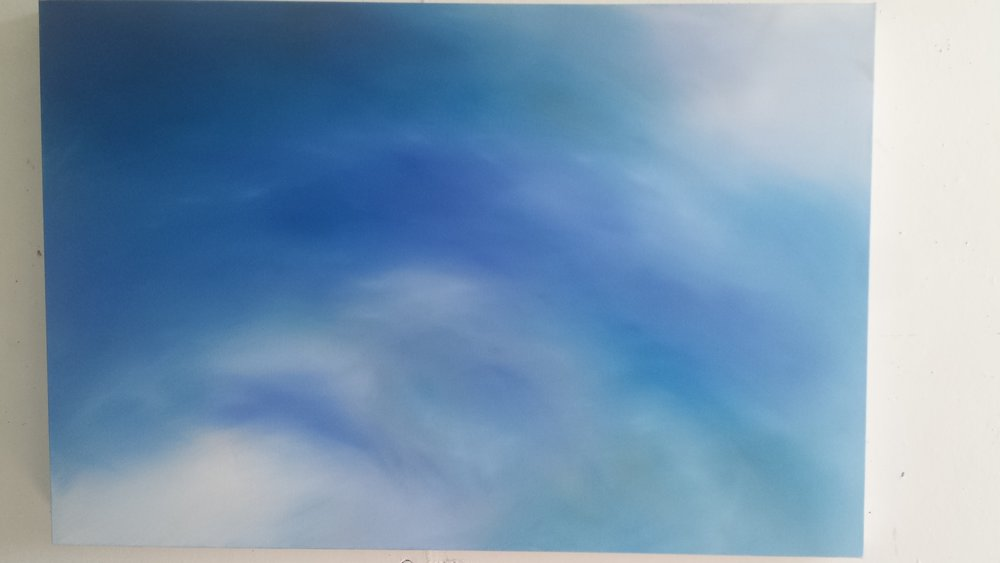 """Blue Clouds"" 24x35"" oil painting by  Gina Piazza   $200"