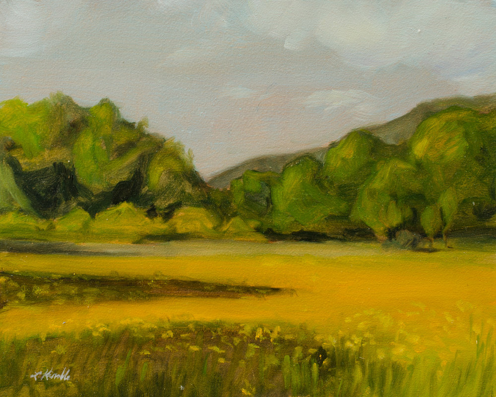 """Here is my painting from the show. It's still for sale: $150. """"Coreopsis Field 1"""" oil on board, 8x10"""" Read about my process in this blog post: Summer Landscapes."""