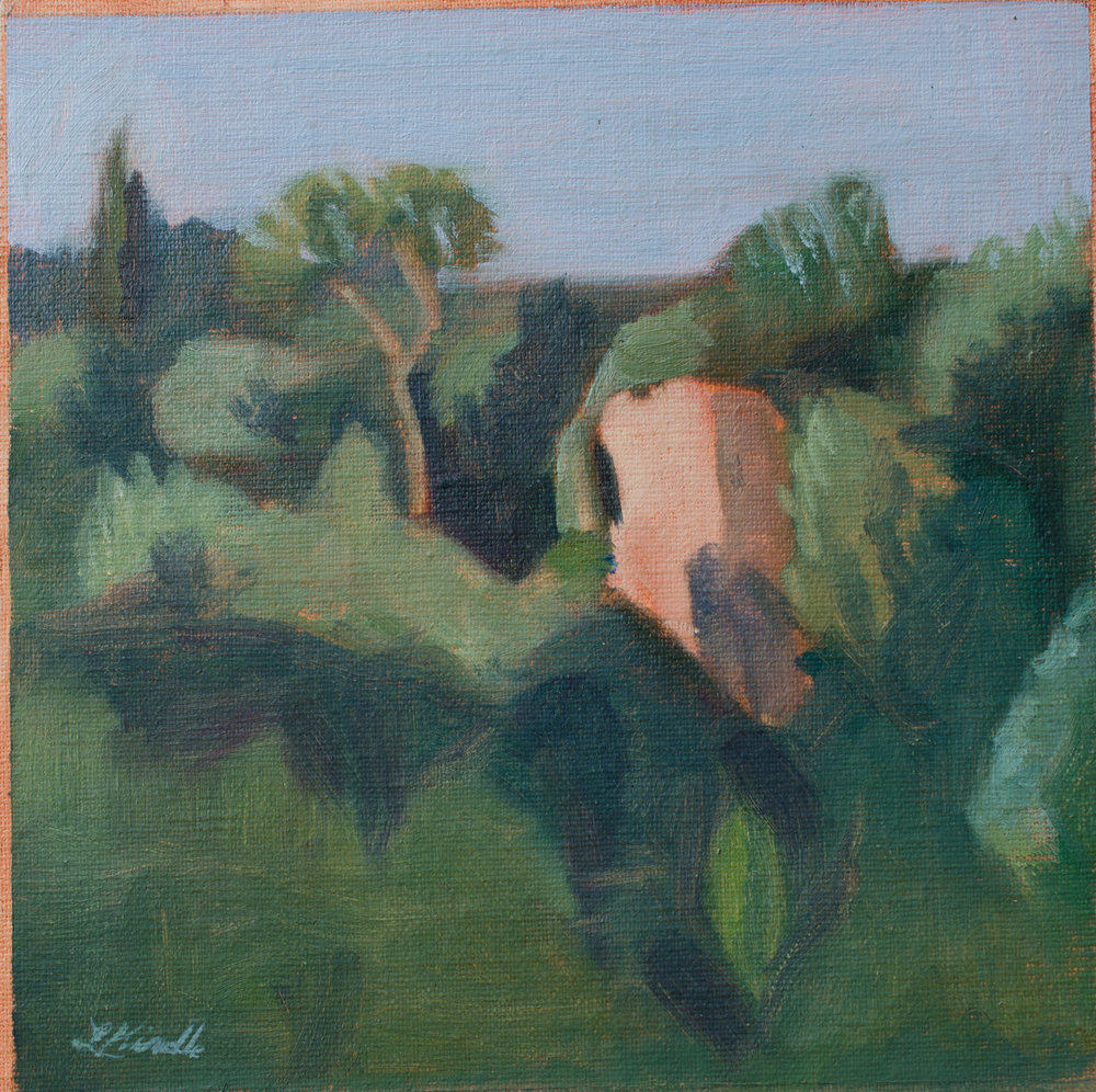 """Evening Light Across the Ravine"" oil on linen mounted on board, 6x6"" (unframed) $100"