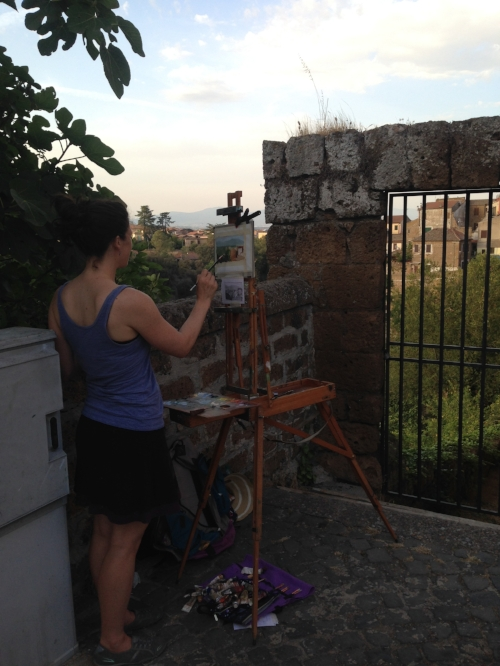 Me, painting in Civita Castellana, Italy.