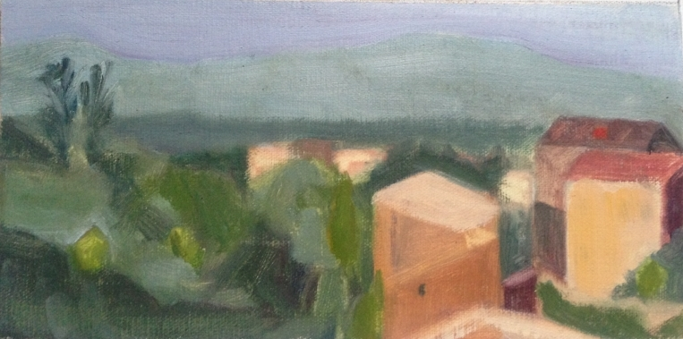 """View of Civita"" oil on linen mounted on board, 3x5"" sketch  (Not for sale.  I gave this to my first grade teacher who has continued to give me encouragement and support even though I'm all grown up now!  Thank you Chris!)"
