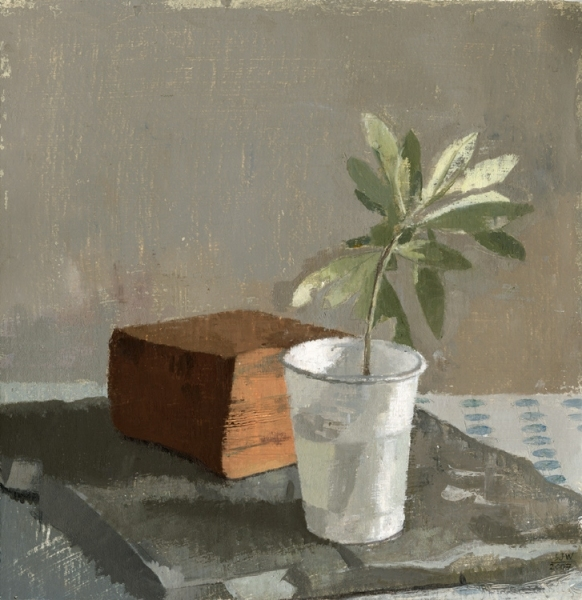 Olive Branch in a White Plastic Cup 2007 oil on paper 9 1/8 x 8 15/16""