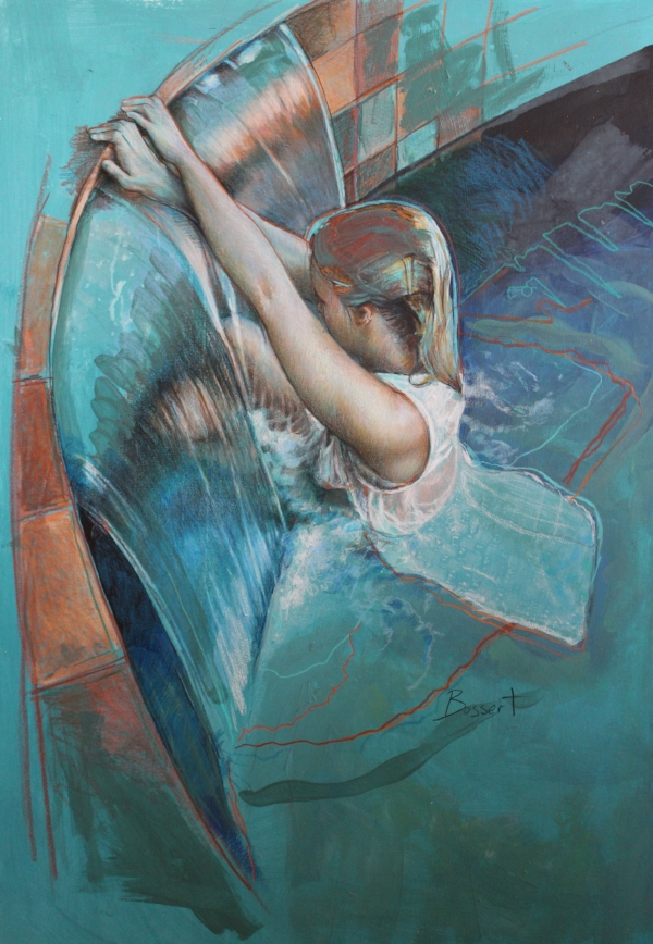 """Lowering into the Pool"" 28x20"" mixed media painting on archival paper by Nancy Bossert"