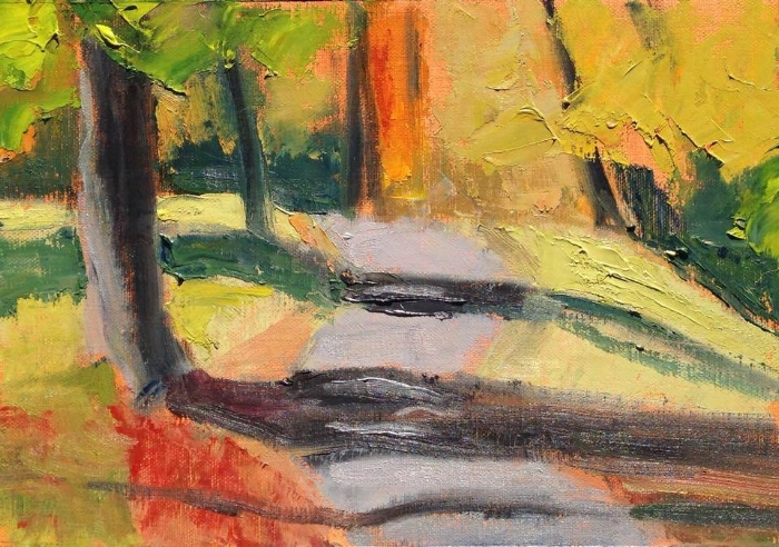 """Autumn Trees #4"" oil on linen, 6x9"""