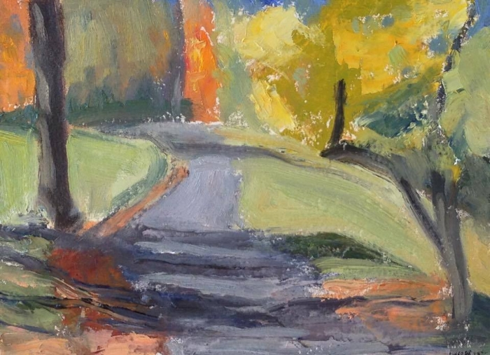"""Autumn Trees #3"" oil on paper 5x7"""