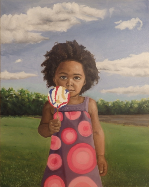 """My Last Candy"", 30""x22"", oil on canvas  (portrait of Browne's daughter, Nora)"