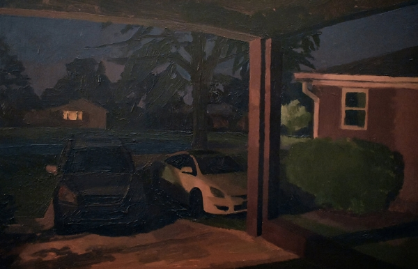 """View from the Carport at Night"" 16x20"" oil on panel"