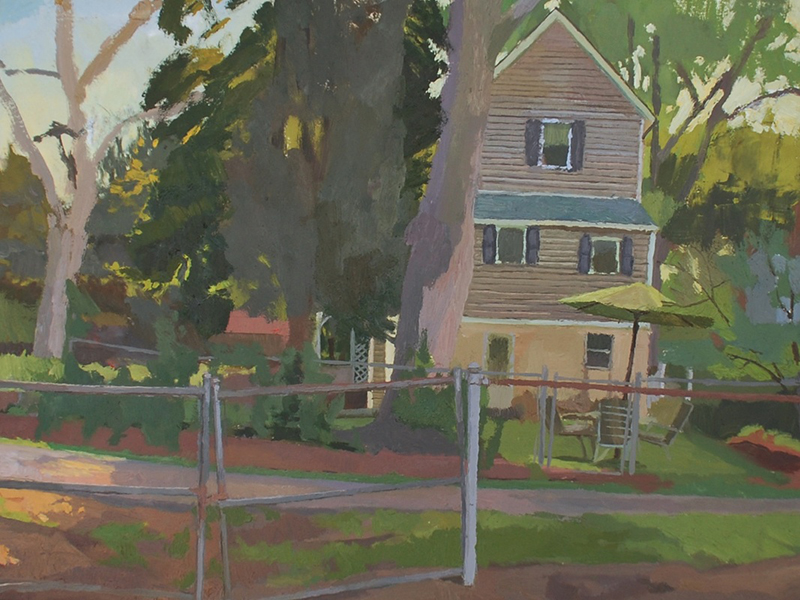 """View from Park in New Brookland"" 12x16"" oil on board"