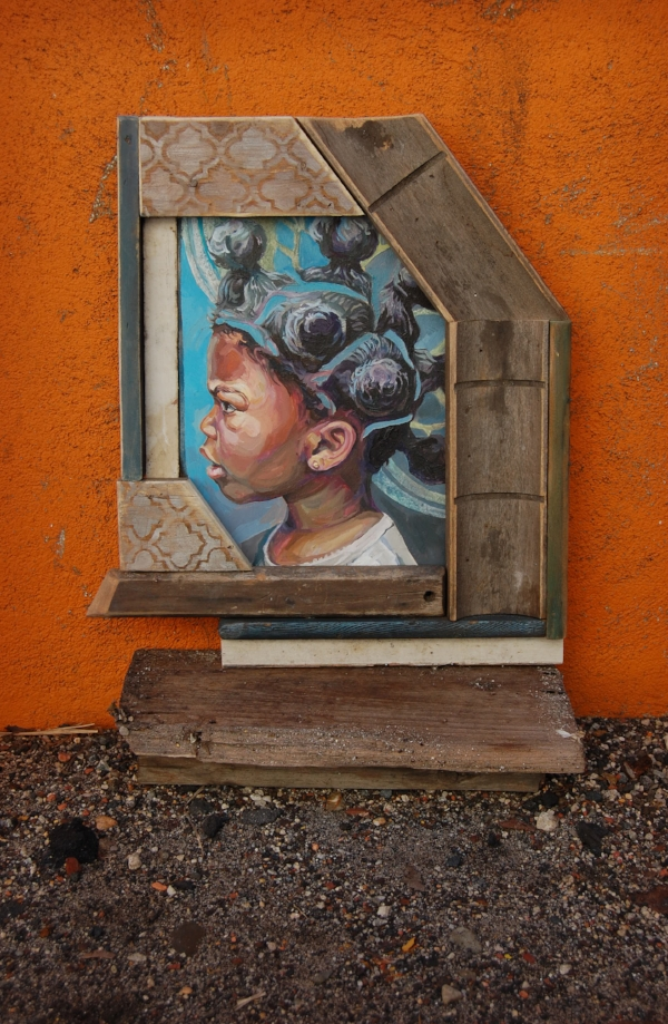 """Bantu Knots"", 14""x16"", oil paint on panel and assemblage"