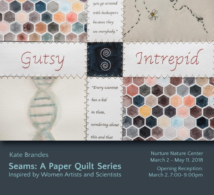 show card made by Keri Maxfield:  OPENING RECEPTION RESCHEDULED MARCH 9th.  (weather)