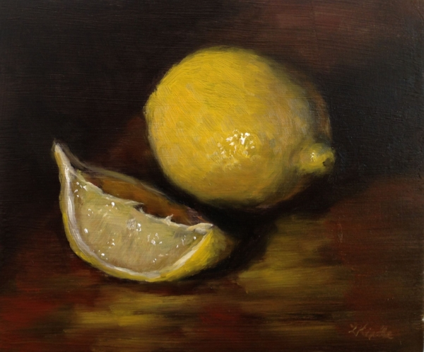 """Peg's Lemons"" oil on board, 4x5"""