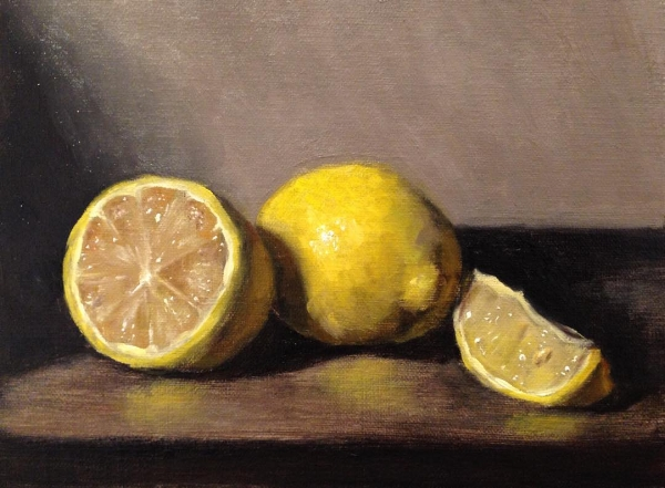 """Marisa's Lemons"" 5x7"" oil on linen mounted on board, 2018"