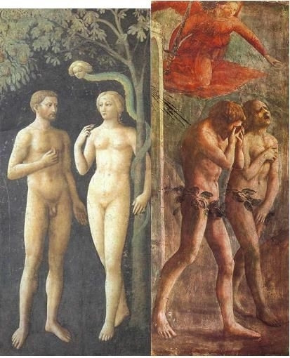 Here you can see Masolino's tranquil fresco (LEFT), compared to Masaccio's agonized image (RIGHT).