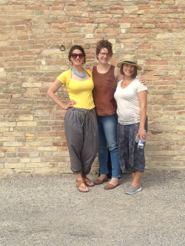"Three artist friends outside the walls of Urbino.  Left to right : myself,  Christina , and  Kristen .  As a side note, Christina will be returning to Civita, Italy this summer, to teach a workshop:  ""In Response to Place."""