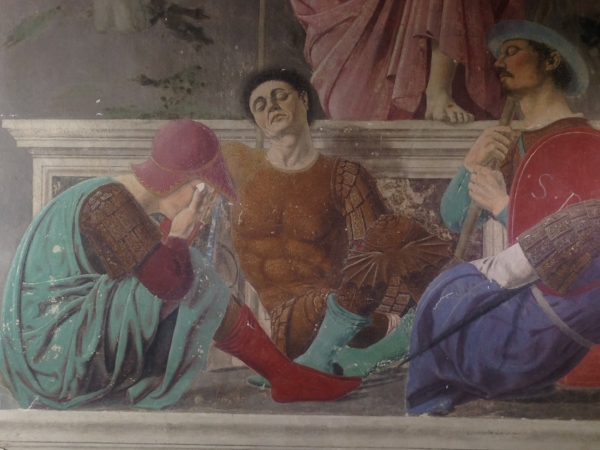 Also in the Museo Civico, a detail of a Piero fresco of sleeping guys.