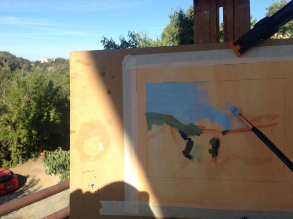 "On my easel in Italy:  "" View from the New Town ."""