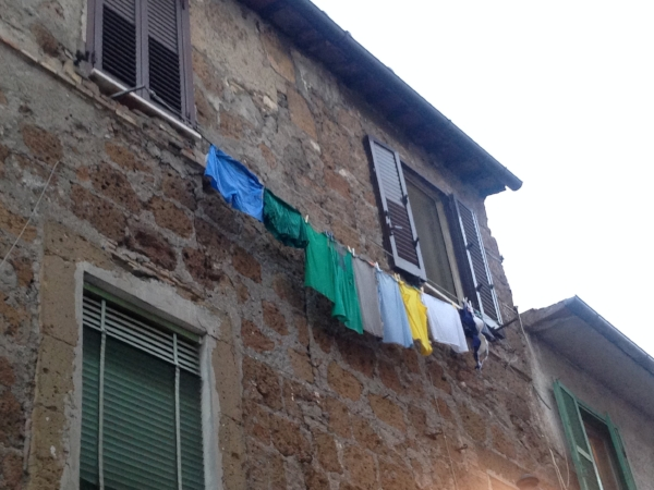 "The laundry hanging everywhere in Civita was lovely!  If I could have stayed longer, I would have painted more laundry scenes.  As it happened, I only made one.   (See my painting ""Laundry In Italy,"" in this  gallery  on my website; it's somewhere near the bottom.)"