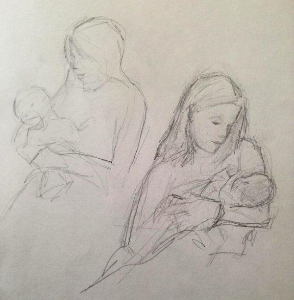 Sketches of my friend Meghan and her new baby (2018)