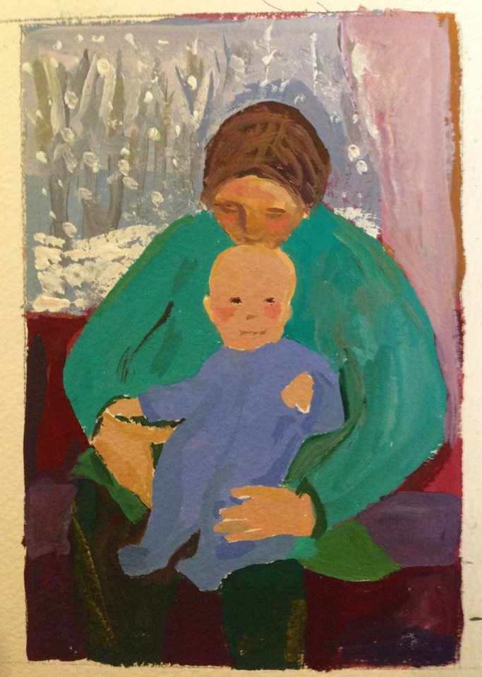 """Mother and Child on a Winter Day""  4x6"" gouache on paper (2018)"