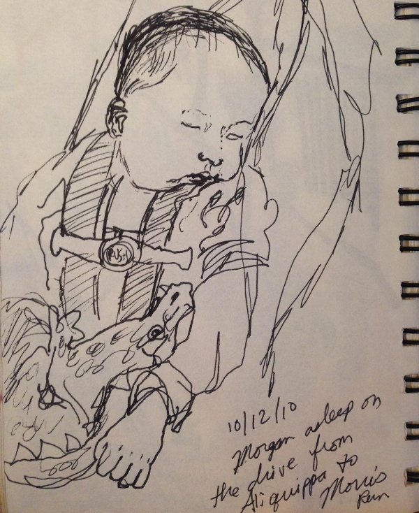 a sketch of my son in the car seat, when he was an infant (2010)