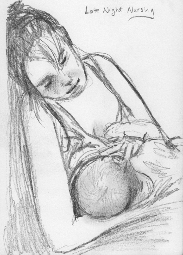a sketch of my sister Karen and her new baby (2015)