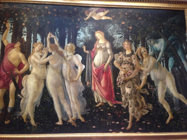 "Botticelli's ""Primavera""... I wrote a short story about this painting two years ago:   ""Botticelli's Weird Party.""   It was cool to finally see it in real life."