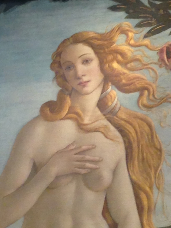 "Botticelli's ""Birth of Venus"", detail.  The photo isn't so great; I had trouble getting close.  She's very popular."