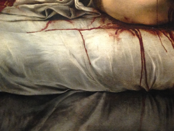 Detail of blood running down the bedsheets.... wow!