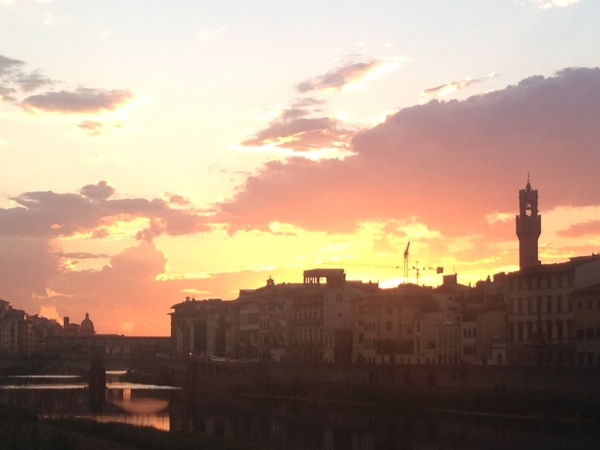The sunset view while enjoying my last dinner in Florence.