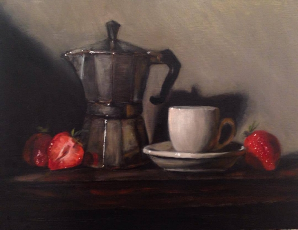 """Caffè e fragole"" oil on board 9x12"" (Translation: coffee and strawberries.)"