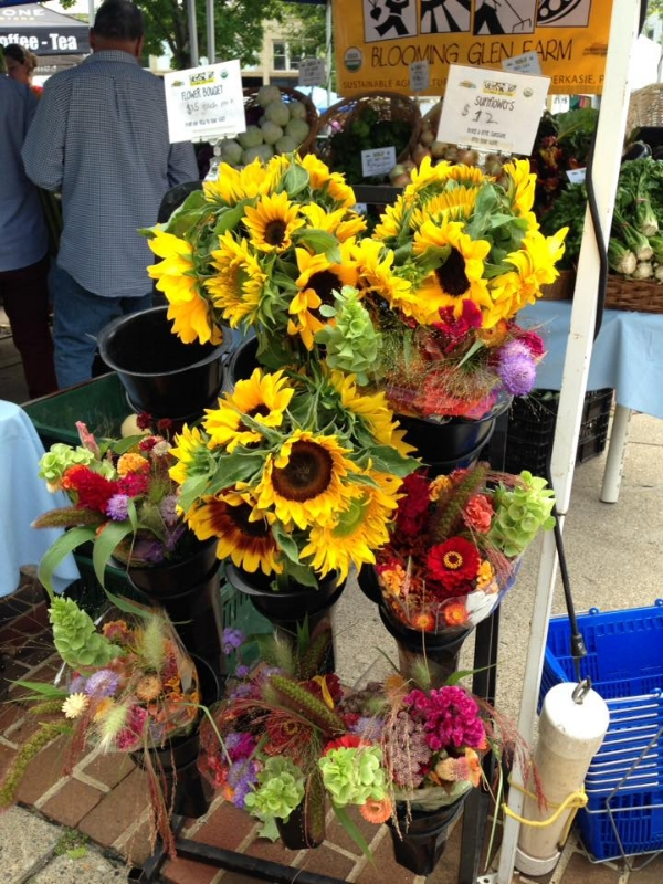flowers at the  Easton Farmer's market , my first day back home from Italy