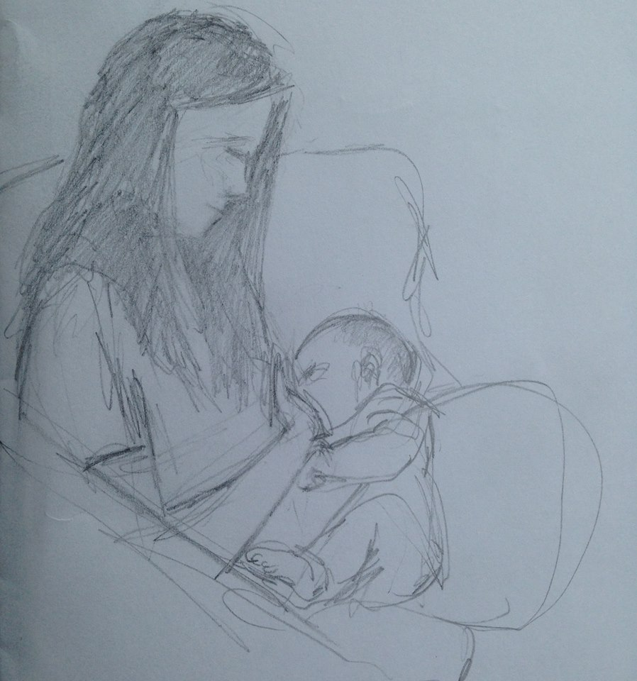 This is my sister Karen, nursing her new baby on Sunday morning. (More such sketches on my  Motherhood  blog post.)