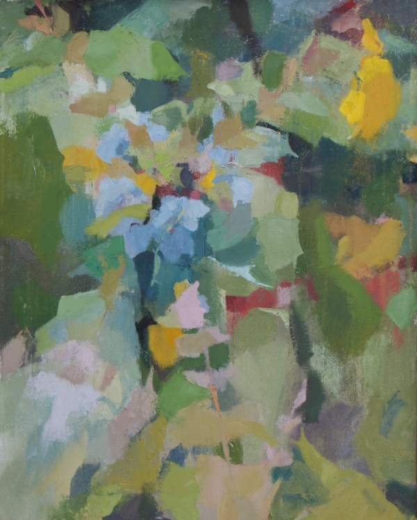 """Mahonia in May"" oil on canvas, 2018, 20x16"""