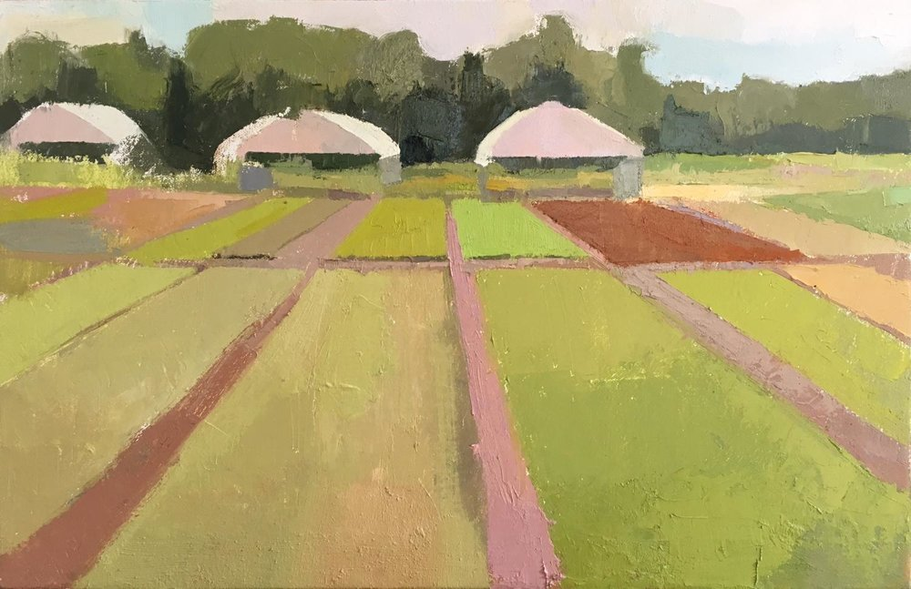 """Culpeper Farm"" oil on canvas, 2018, 11.75x18.25"""