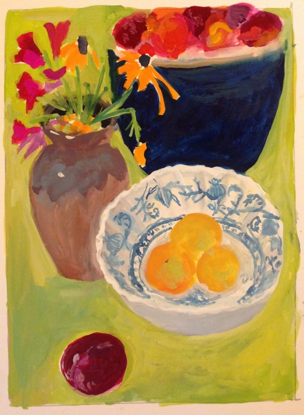 """Yellow Plums"" 5x7"" gouache on paper"