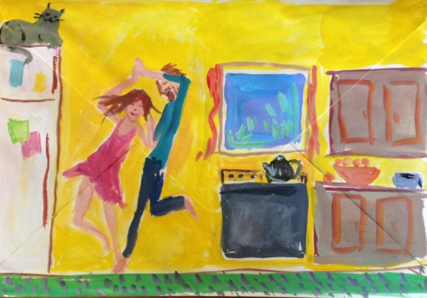 """Dancing in the Kitchen"" gouache on an envelope (letter to my friend Emma)"