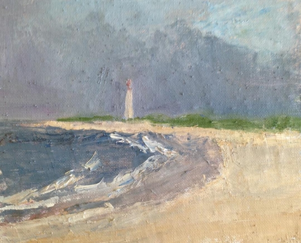 """Lighthouse in the early morning"" oil on linen mounted on board, 7x8"" sold"