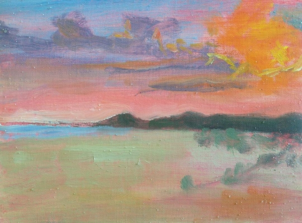 """Beach Sunset""  6x8"" oil on linen mounted on board"