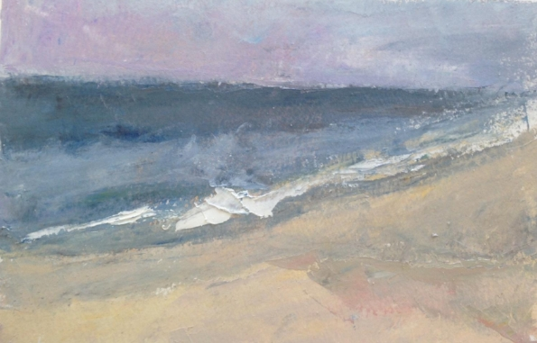 """Morning at the beach"" oil on paper, 5.5x8.5"" sold"