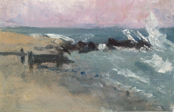 """Evening by the Sea"" 5x8"" oil on paper, sold"
