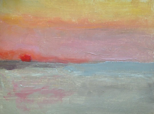 """Beach Sunrise""  oil on linen mounted on board, 6x8"""