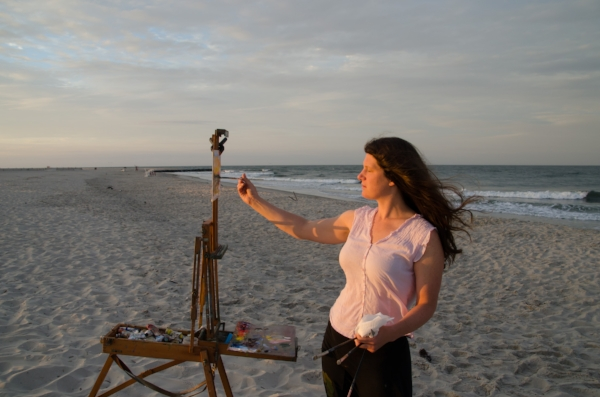 me painting at sunrise, photo credit Ian Kindle
