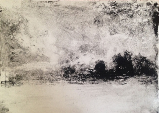 """Field at Kings Oaks"" one of my first monotypes! 7x10"""