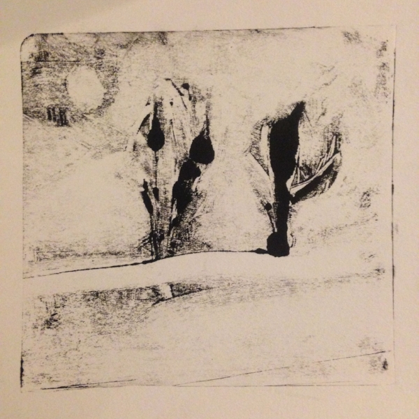 Two Trees.  Monotype.  5x5""