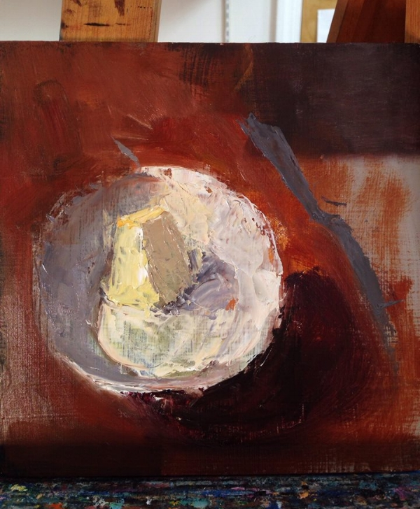 on the easel: a pat of butter #workinprogress