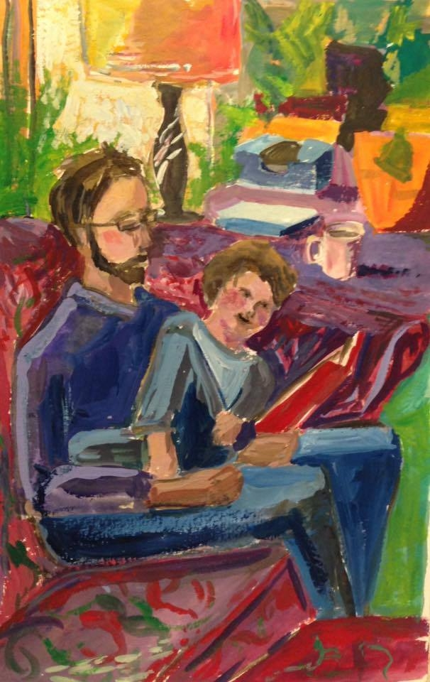 "Ian reading to Morgan in the Living Room, gouache on paper, 6x9"" I think this is an afternoon scene."
