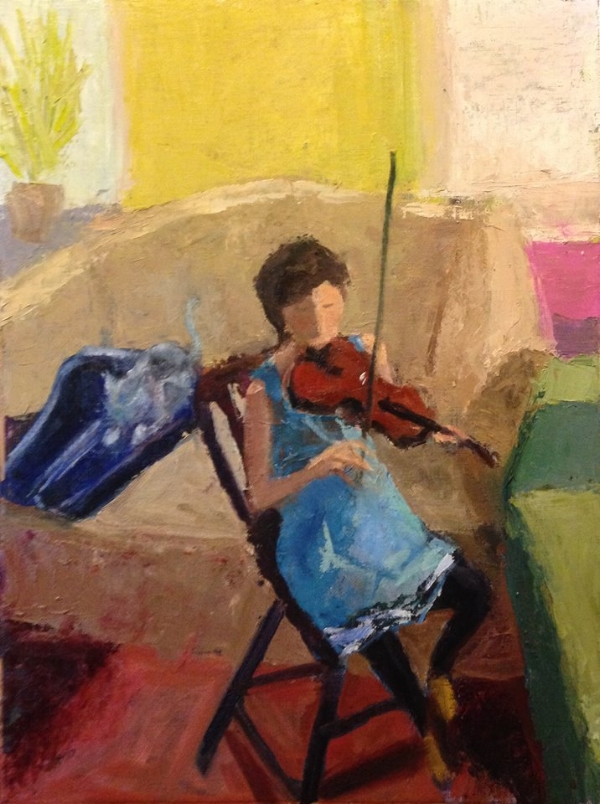 """Nell Practicing"" 16x12"" oil on canvas/panel by Lauren Kindle"