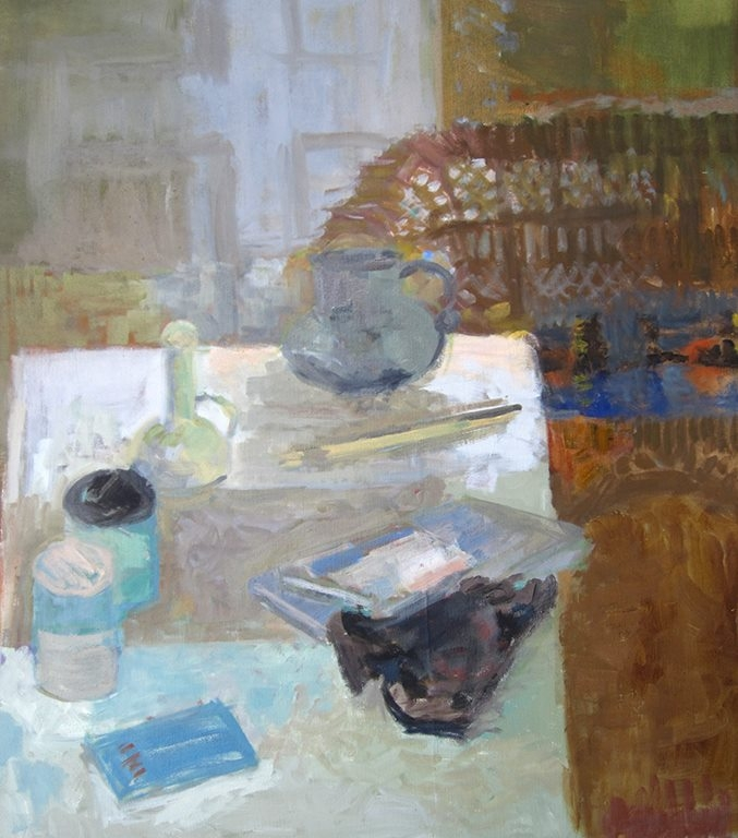 """Cluttered Table"" oil on canvas by Ellen Sapienza, 32x28"""